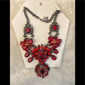 Red floral statement necklace